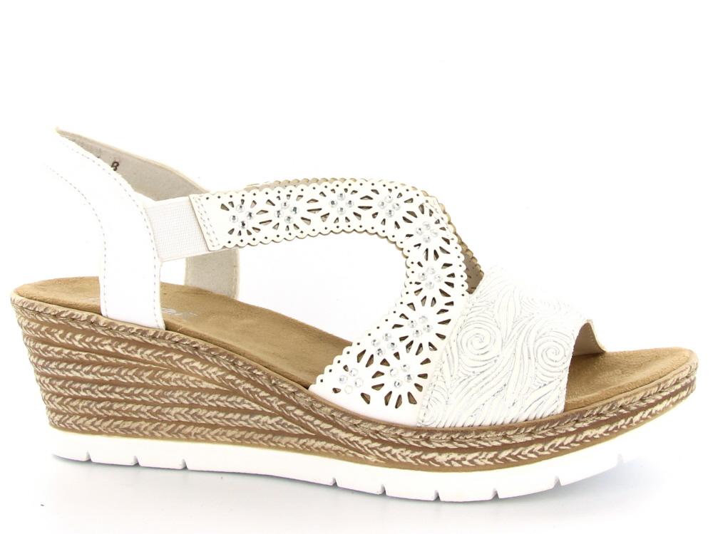Rieker dames sandaal hoge hak wit