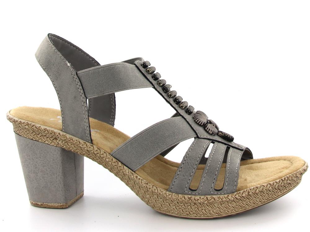 3f7d90a64d3 Rieker dames sandaal hoge hak licht grijs - Olthuis Schoenen